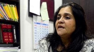 Activist Teesta Setalvad speaks during an interview at her lawyer's office in Mumbai.(AFP File Photo)