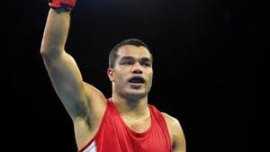 India's Vikas Krishan Yadav celebrates after beating Zambia's Benny Muziyo in the Men's 75kg category quarterfinals boxing event at the Commonwealth Games 2018 at Oxenford Studios in Gold Coast on Wednesday.(PTI)