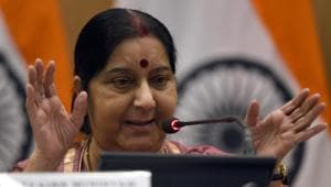 Foreign minister Sushma Swaraj addresses a press conference in New Delhi.(Sonu Mehta/HT PHOTO)
