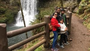 Sandeep Thottapilly, wife Soumya and their two children, Siddhant (12) and Saachi (9) pose during a vacation before they were reported missing while travelling from Portland to Los Angeles in an SUV on April 5.