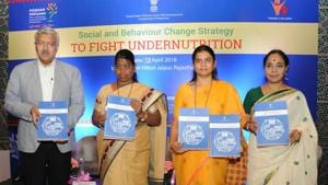 Anita Bhadel, minister for Women and Child Development, along with NITI Aayog additional secretary Yaduvendra Mathur and other officials in Jaipur on Thursday.(HT PHOTO)