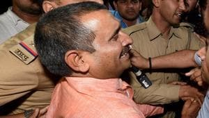 BJP MLA from Unnao Kuldip Singh Sengar, accused in a rape case, out side of the office of the Senior Superintendent of Police in Lucknow on Wednesday night.(PTI Photo)