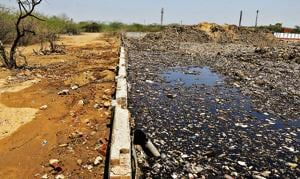 Leachate from the Bandhwari waste treatment plant is believed to have contaminated all groundwater resources in the village and adjoining areas.(Parveen Kumar/HT PHOTO)