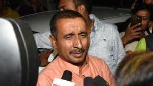 Bharatiya Janata Party MLA Kuldeep Singh Sengar, the main accused in the rape of a 17-year-old girl last year in Uttar Pradesh's Unnao, speaks to reporters in Lucknow, on April 11.(Subhankar Chakraborty/HT file photo)
