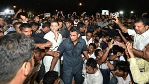 Congress president Rahul Gandhi takes part in a candle light vigil at India Gate to protest against the growing incidents of violence against the children and women, in New Delhi on Thursday.(PTI)