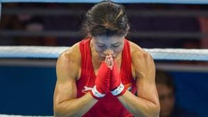 MC Mary Kom bows to the crowd after winning gold in the women's Light Fly (45-48kg) boxing category at the 2018 Commonwealth Games (CWG 2018) in Gold Coast on Saturday.(PTI)