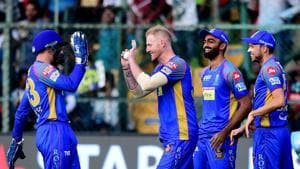Ben Stokes celebrates with teammates the wicket of Brendon McCullam during the IPL 2018 match between Royal Challengers Bangalore and Rajasthan Royals at the M Chinnaswamy Stadium in Bengaluru. Get highlights of the IPL 2018 clash between Royal Challengers Bangalore (RCB) and Rajasthan Royals (RR) here(PTI)