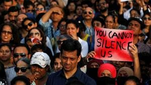 People gather to protest the rape of an eight-year-old girl in Kathua, and a teenager in UP's Unnao, in Mumbai on Sunday. The incidents have spurred public anger and led to demands of a death penalty for the culprits.(Reuters)