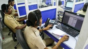 Responders at the Pune police control room. The Dial-100 initiative has helped reduce instances of human error.(HT File Photo)