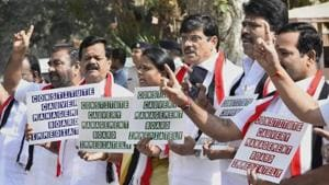 AIADMK MPs protest at Parliament House demanding creation of Cauvery Water Management Board during the second phase of budget session in New Delhi.(PTI File Photo)