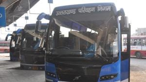 Volvo buses of the Uttarakhand Roadways that run on long routes.(HT)