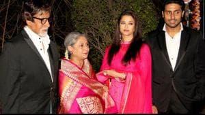 Abhishek Bachchan (r) with parents Jaya and Amitabh Bachchan and wife Aishwarya Rai Bachchan.