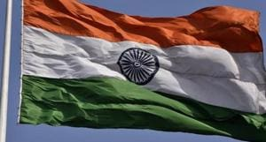 A photo of the Indian tricolor flag with birds and sky in the background at the Delhi Town Hall, Chandni Chowk, Old Delhi, India, on Thursday, February 15, 2018. (Photo by Sonu Mehta/ Hindustan Times)(Sonu Mehta/HT File Photo)