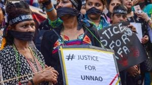 Women stage protest demanding justice for the victims of Kathua and Unnao rape cases, in Kolkata on Wednesday.(PTI Photo)