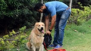 Ashutosh Prasad, a pet owner, believes that owning a pet involves great responsibility, equivalent to being a parent.(SHANKAR NARAYAN/HT PHOTO)