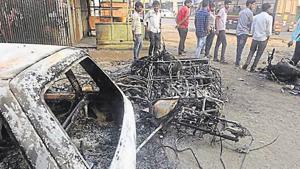 Pune, India - January 2, 2018: Torched vehicles at Koregaon Bhima in the violence in Pune, India, on Tuesday, January 2, 2018. (Photo by Pratham Gokhale/Hindustan Times)(Pratham Gokhale/HT Photo)