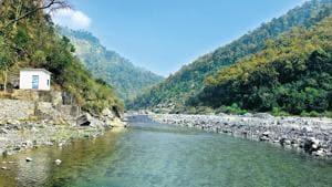 Proposed site of Jamrani Dam in Nainital district.(HT PHOTO)