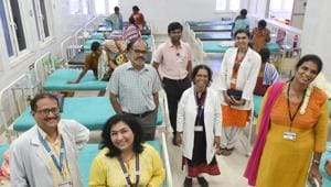 The gender care team at the Mahatma Gandhi Medical College and Research Institute that provides sex reassignment surgery (SRS) to transgender clients in Puducherry. It includes Sheetal, a thirunangai community representative, and Dr Sameera Jahagirdar, a transgender woman (back row), and anaesthetist.(Arijit Sen/HT Photo)