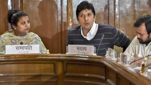"""AAP leaders Rakhi Bidlan and Saurabh Bhardwaj at Delhi Legislative Assembly. Bhardwaj alleged that Delhi Police """"shamelessly reached its new low and is a tool in the hands of the central government to settle score"""".(PTI FILE)"""
