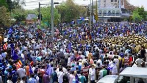 Members of Dalit community raise slogans during 'Bharat Bandh' in Jaipur. Till now, only the National Commission for Scheduled Castes and the National Commission for Scheduled Tribes have Constitutional status, giving them powers to act against officials.(PTI File Photo)