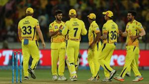 Chennai Super Kings players celebrate the wicket of Yusuf Pathan during match twenty of the 2018 Indian Premier League 2018 (IPL 2018) between Sunrisers Hyderabad and Chennai Super Kings at the Rajiv Gandhi International Cricket Stadium in Hyderabad. Follow highlights of Sunrisers Hyderabad (SRH) vs (CSK) Chennai Super Kings, Indian Premier League (IPL) 2018 match at the Rajiv Gandhi International Stadium, Hyderabad here(BCCI)