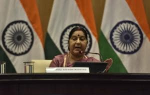 Minister of external affairs Sushma Swaraj is in Beijing to attend the Shanghai Cooperation Organisation's (SCO) foreign ministers' meet.(HT FILE PHOTO)