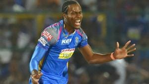 Rajasthan Royals' Jofra Archer celebrates after taking the wicket of Hardik Pandya of Mumbai Indians in their 2018 Indian Premier League (IPL 2018) match at Sawai Mansingh Stadium in Jaipur on Sunday. Jofra, making his IPL debut for RR, took three wickets in the match.(PTI)