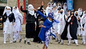 Many across the Valley, including girl students, took to pelting security personnel with stones after the encounter killing of Hizbul Mujahideen militant Burhan Wani in 2016.(PTI File)