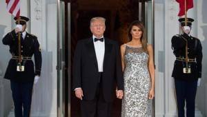 US President Donald Trump and First Lady Melania Trump welcome French President Emmanuel Macron and his wife Brigitte Macron as they arrive for a State Dinner at the North Portico of the White House in Washington, DC, April 24, 2018.(AFP)