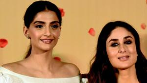 Sonam Kapoor and Kareena Kapoor Khan pose for a photograph during a promotional event for Veere Di Wedding.(AFP)