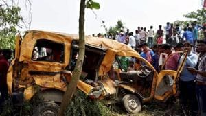 Thirteen children had died and eight others were injured in the unmanned railway crossing accident on Thursday.(PTI)