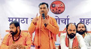 Leaders of the Maratha Kranti Morcha, Abasaheb Patil, Manikrao Shinde, and Ramesh Kare Patil at the YB Chavan auditorium on Saturday.(HT Photo)
