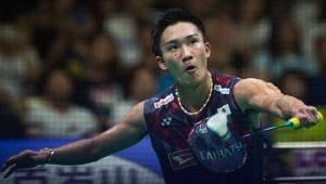 Kento Momota of Japan won the men's singles crown at the Badminton Asia Championships in Wuhan on Sunday.(AFP)