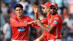 Kings XI Punjab's Mujeeb Zadran (L) has take seven wickets so far in IPL 2018.(AFP)