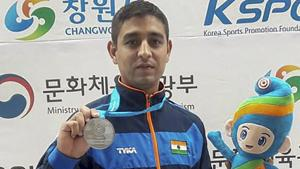 Shahzar Rizvi won a silver medal in the 10m Air Pistol event at the ISSF World Cup in Changwon, South Korea in April.(PTI)