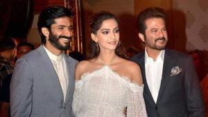 Harshvardhan with Sonam and Anil Kapoor.
