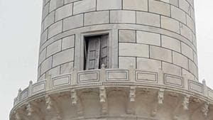 Wednesday's thunderstorm displaced a wooden door in the Taj Mahal's northwest minaret.(HT Photo)