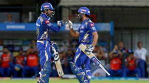 Krunal Pandya and Rohit Sharma's 56-run stand off 3.3 balls helped Mumbai Indians stay alive in the IPL 2018 with a six-wicket win over Kings XI Punjab.(BCCI)