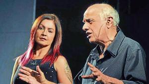 Film director Mahesh Bhatt along with daughter Pooja Bhatt interacting with the audience before the theatrical adaptation of their 1989 film 'Daddy' in Chandigarh on Saturday.(Karun Sharma/HT)