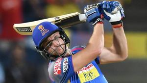 Jos Buttler scored a fifty for Rajasthan Royals during their Indian Premier League (IPL) match against Kings XI Punjab in Indore on Sunday.(AFP)