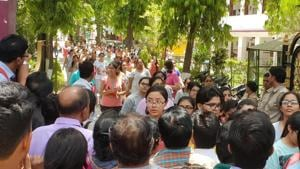 NEET aspirants come out of the exam centre in Kota on Sunday.(A.H ZAIDI/HT PHOTO)