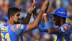 FILE -- Rajasthan Royals' Ish Sodhi (L) celebrates with teammates after taking a wicket during the Indian Premier League (IPL 2018) match against Sunrisers Hyderabad (SRH) at the Sawai Mansingh Stadium in Jaipur on April 29.(AFP)