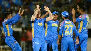 Rajasthan Royals players celebrate the wicket of Marcus Stoinis during the 2018 Indian Premier League (IPL) Twenty20 match between Kings XI Punjab and Rajasthan Royals in Jaipur.(AFP)