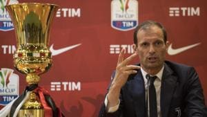 Juventus take on manager Massimiliano Allegri's former side AC Milan in the Italian Cup final on Wednesday.(AP)