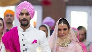 Angad Bedi and Neha Dhupia got married in Delhi on Thursday.(Twitter)