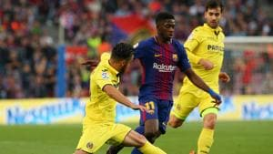 Barcelona extended their unbeaten La Liga run to 36 games with a 5-1 win over Villareal at the Nou Camp on Wednesday, with Ousmane Dembele (C) soring twice.(REUTERS)