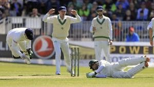 Ireland's Niall O'Brien, left, collides with Pakistan's Imam-ul-Haq on day two of the first Test at The Village, Dublin, on Saturday.(AP)
