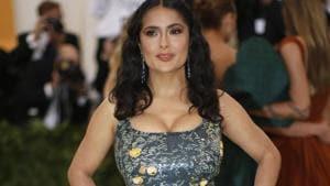 Salma Hayek arrives at the Metropolitan Museum of Art Costume Institute Gala (Met Gala).(REUTERS)