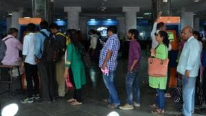 Currently, commuters have to stand in queues to buy tickets or recharge smart cards from each operator.(Ht File Photo)