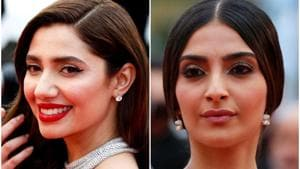Sonam Kapoor and Mahira Khan greeted each other before walking on the red carpet at Cannes on Monday.(Reuters)